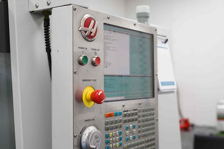 Close up of Haas TM-3P CNC Machine controls.