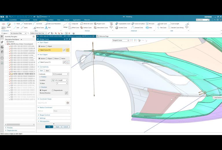 Screenshot of Siemens NX